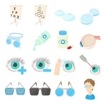 Vision correction icons set in cartoon style