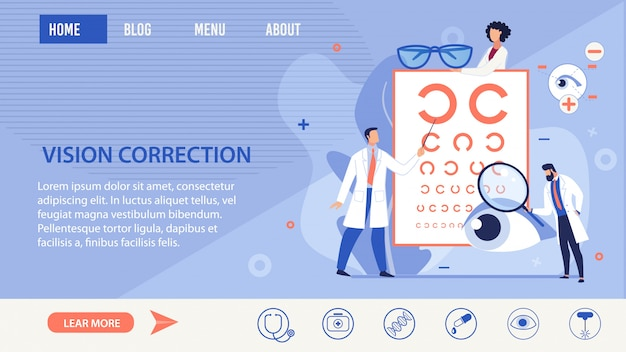 Vision correction methods selection landing page