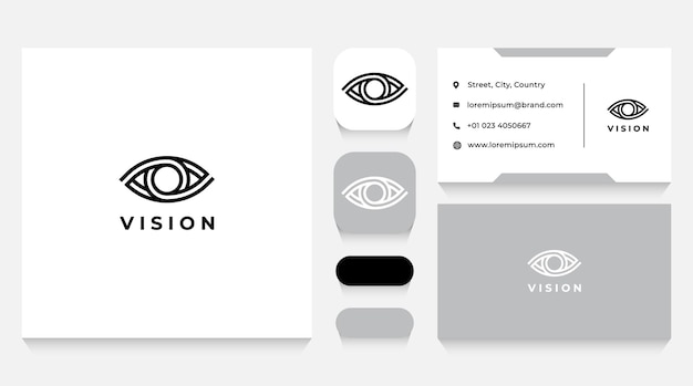 Vision eye logo template and business card