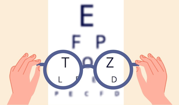 Vision health. eye ophthalmologist test, glasses check up. optometry testing board or blurred eyesight and optical focus vector illustration. human vision, ophthalmologist examination and treatment