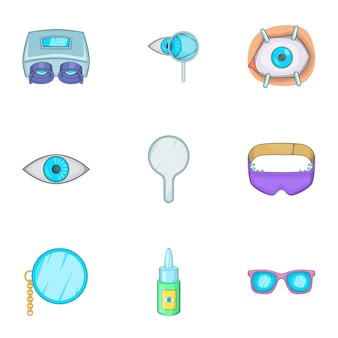 Vision icons set, cartoon style