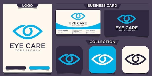 ビジョンのロゴのコンセプト。フラットラインアイアイコンデザインテンプレート。