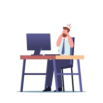 Концепция проблемы зрения. офисный работник, страдающий синдромом ленивого глаза, косоглазием или конъюнктивитом