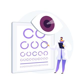 Видение скрининга абстрактное понятие векторные иллюстрации. служба проверки зрения, рецепт на очки, диагностика заболеваний глаз, проверка остроты зрения, первичная медико-санитарная помощь в школе, абстрактная метафора педиатрического экзамена.