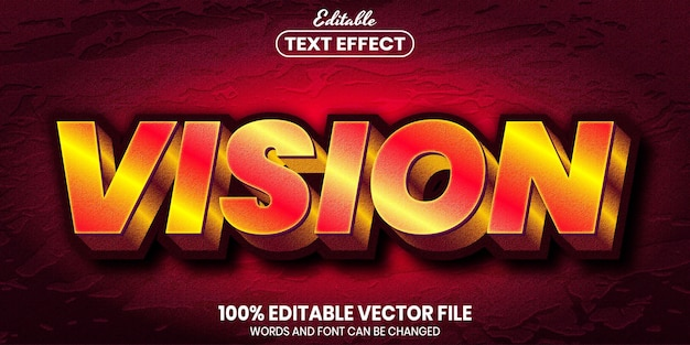 Vision text, font style editable text effect
