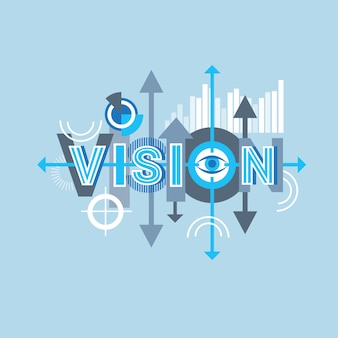 Vision word creative graphic design modern business concept over abstract geometric shapes