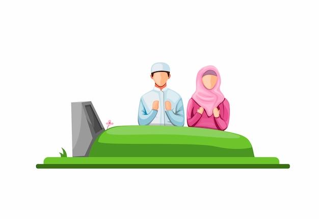 Посещение и молитва перед гробницей на кладбище. ритуал в могиле концепции в карикатуре