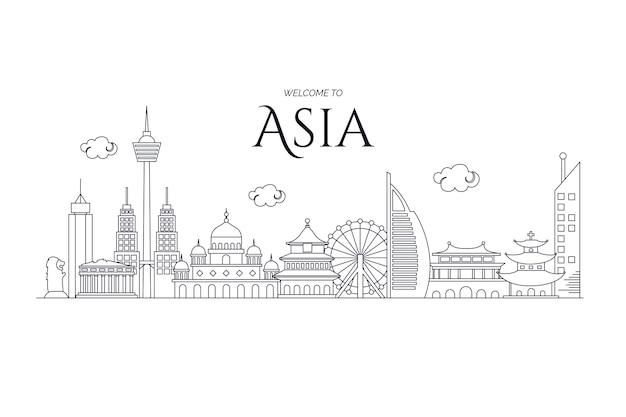 Visit asia outline landmarks skyline