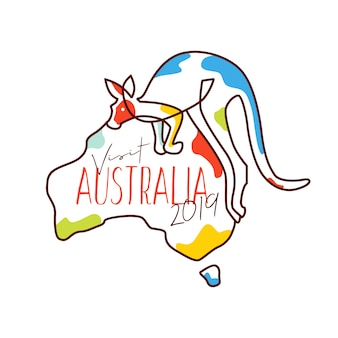 Visit australia 2019 illustration vector merchandise