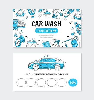 Visit card for the car wash and auto detaling in the doodle style