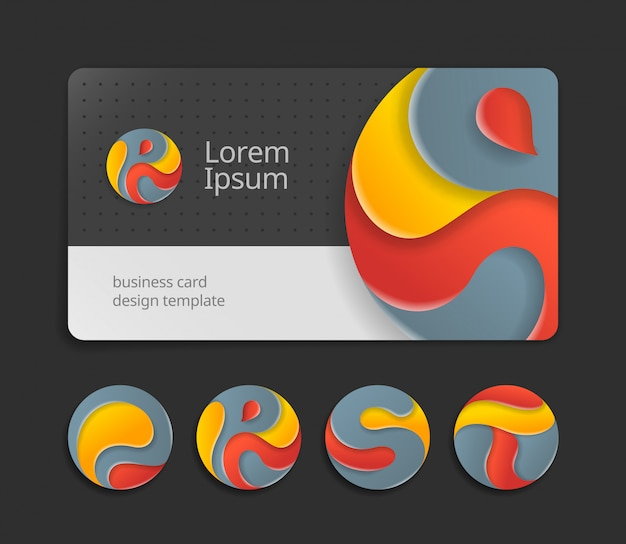 Visit card design template with abstract rounded signs