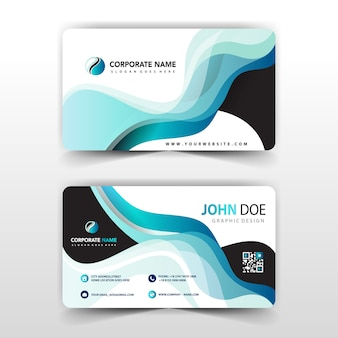 Visit card with abstract wavy