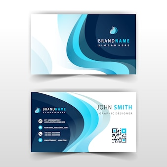Visit card with blue wave detailed