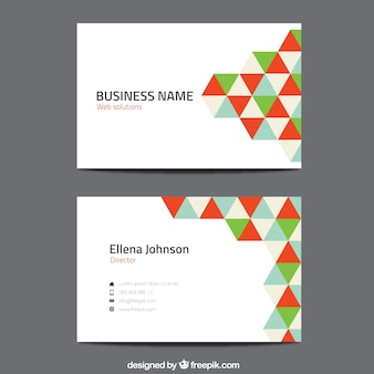 Visit card with colorful triangles