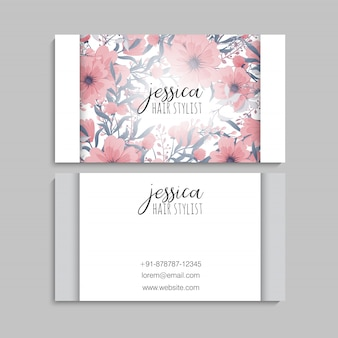 Visit card with flowers