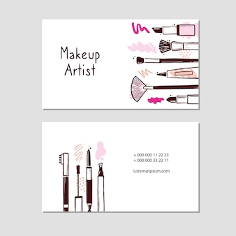 Visit card with makeup beauty cosmetic elements