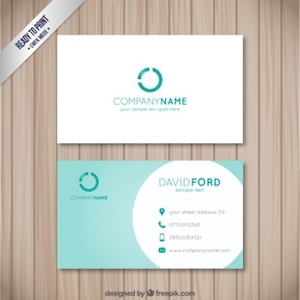 Visit card with a turquoise circle