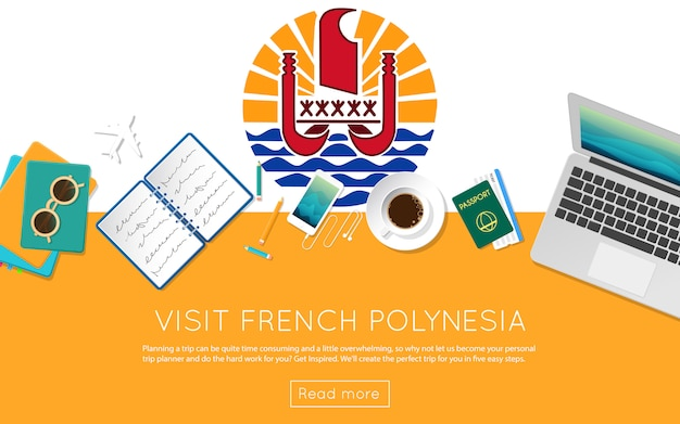 Visit french polynesia concept for your web banner