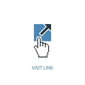 링크 개념 2 컬러 아이콘을 방문하십시오. 간단한 파란색 요소 그림입니다. 링크 개념 기호 디자인을 방문하십시오. 웹 및 모바일 ui/ux에 사용할 수 있습니다.
