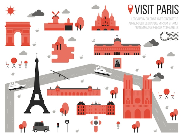 Visit paris map illustration