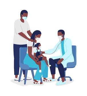 Посещение семейного врача полуплоских цветных векторных символов. люди полного тела на белом. педиатрическая консультация изолировала современную иллюстрацию мультяшного стиля для графического дизайна и анимации