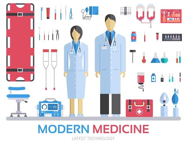 Визит к врачу. лекарства поставляют оборудование для медицинского персонала и персонала.