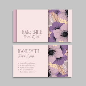 Visiting card and business card set with flowers