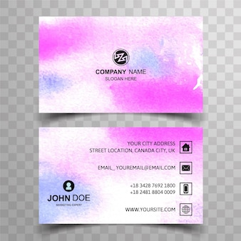 Visiting card template watercolor style
