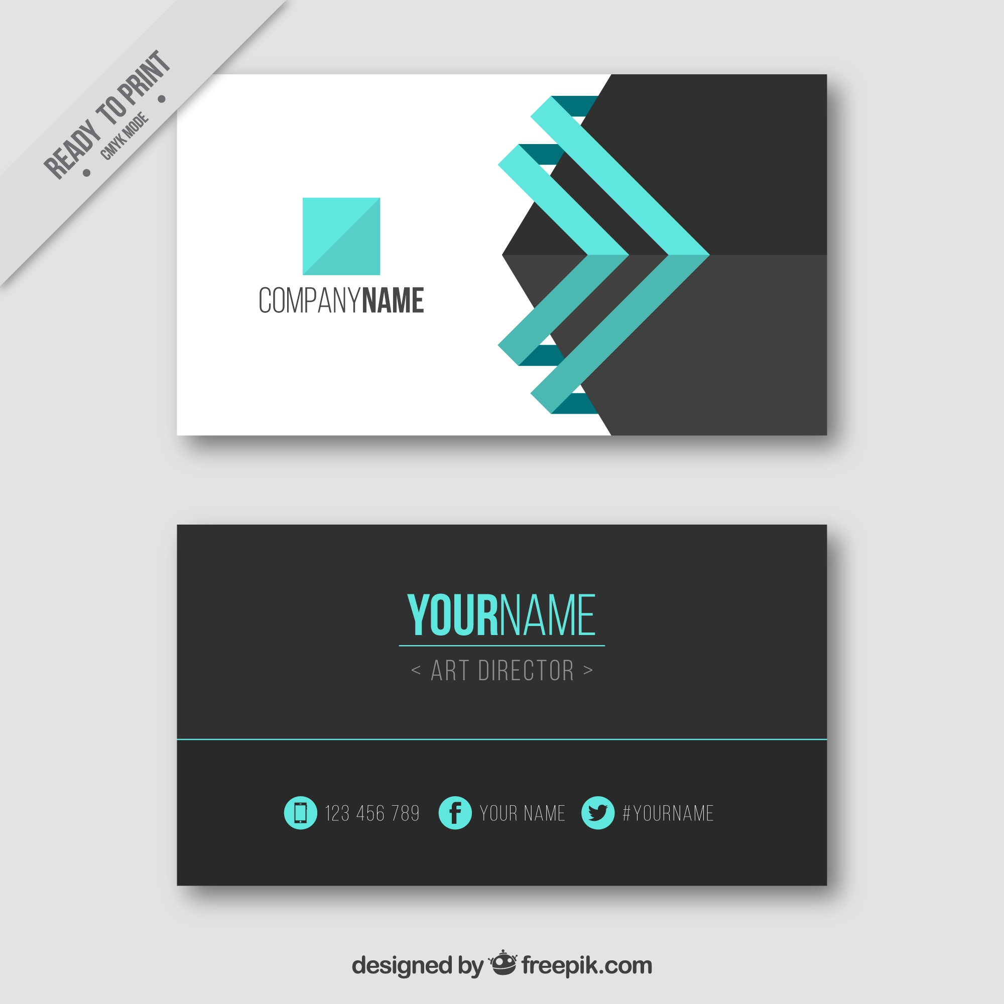 Visiting card with blue details