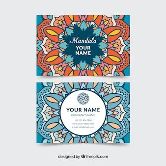 色付きマンダラを持つ訪問カード
