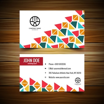 Visiting card with colorful triangles