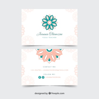Visiting card with mandalas in pastel colors