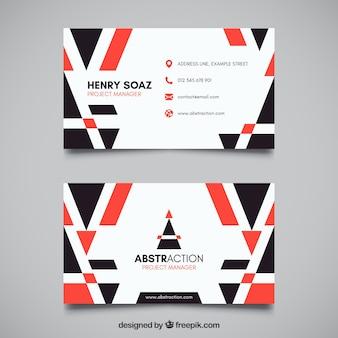 Визитная карточка с красными и черными формами
