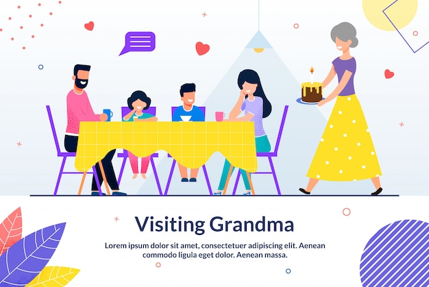 Visiting grandma and sweet moment motivate emplate