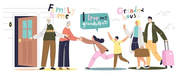 В гостях у бабушек и дедушек: счастливые малыши и родители в гостях у бабушки и дедушки. семейная встреча и концепция воссоединения. встреча с бабушкой и дедушкой. векторные иллюстрации шаржа