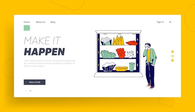 Visitor on minerals exhibition or shop landing page template