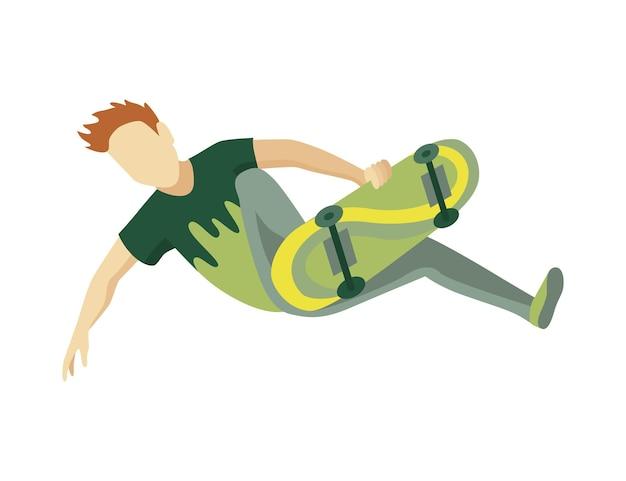 아이소 메트릭 skatepark의 방문자. 스케이트 보드에 점프하는 젊은 남자. 현대 청년 여가