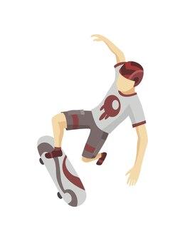 アイソメトリックスケートパークの訪問者。スケートボードでジャンプする若い男。現代の若者のレジャー