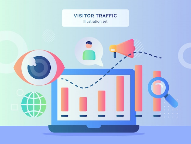 Visitor traffic illustration set statistic chart on monitor laptop background of globe eye focus megaphone with flat style.