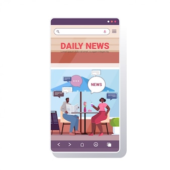 Visitors reading newspapers and discussing daily news during coffee break chat bubble communication concept. smartphone screen mobile app copy space illustration