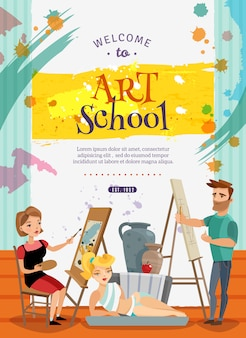 Visual art school classes offer  poster