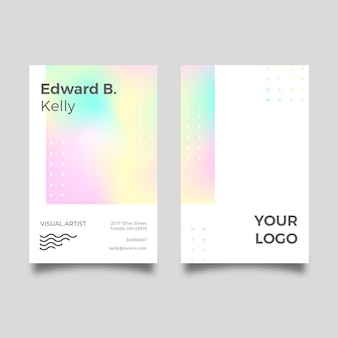 Visual artist pastel gradient business card template