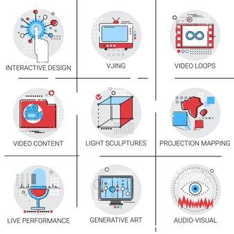 Visual multimedia modern art interactive design icon set