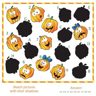 시각적 퍼즐 - 그림을 그림자와 일치시킵니다. 답변이 포함되어 있습니다.