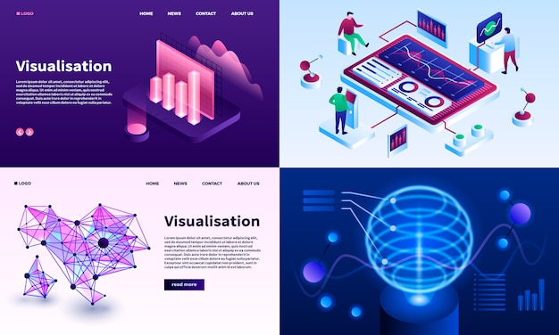 Visualization banner set. isometric set of visualization