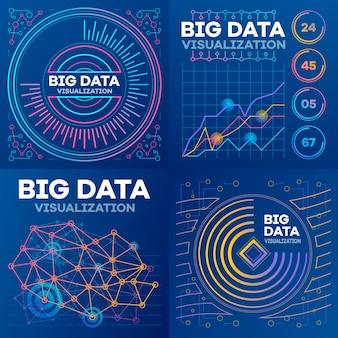 Visualization banner set. outline set of visualization vector banner