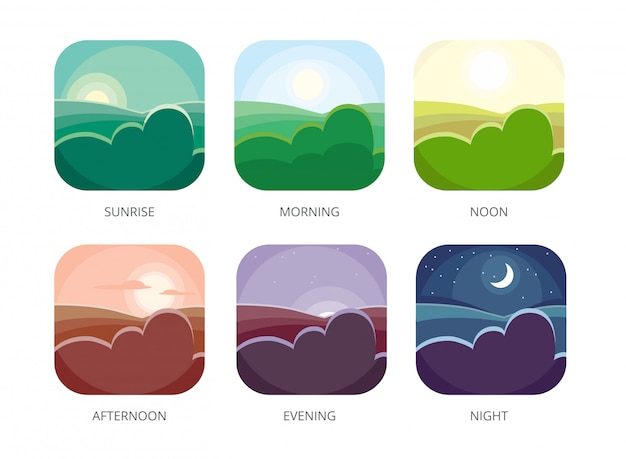 Visualization of various timeday, morning, noon and night, flat style  sunrise and afternoon, evening landscape