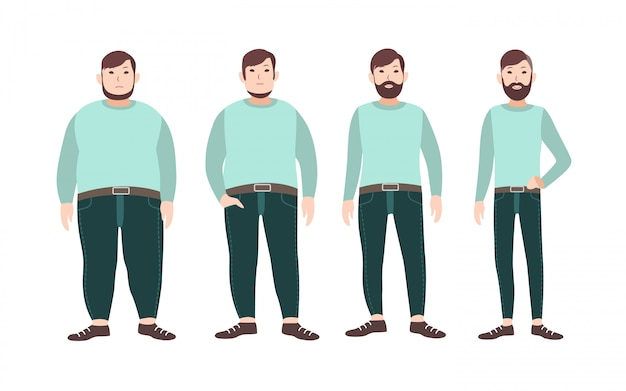 Visualization of weight loss stages of male cartoon character, from fat to slim. concept of body changing through diet, healthy nutrition and sports.   illustration.