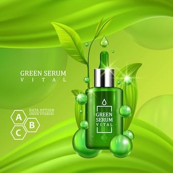 수분이 많은 녹색 배경에 녹색 잎으로 장식된 바이탈 세럼 드롭퍼 병. 피부 관리 비타민 공식 치료 디자인. 미용 제품 개념입니다. 벡터