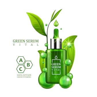 흰색 바탕에 녹색 잎으로 장식된 바이탈 세럼 드롭퍼 병. 피부 관리 비타민 공식 치료 디자인. 미용 제품 개념입니다. 벡터